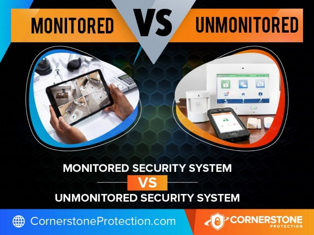monitored security systems vs unmonitored home security systems cornerstone protection